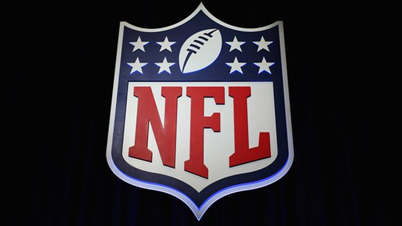 The NFL shield logo is seen following a press conference held by NFL Commissioner Roger Goodell...