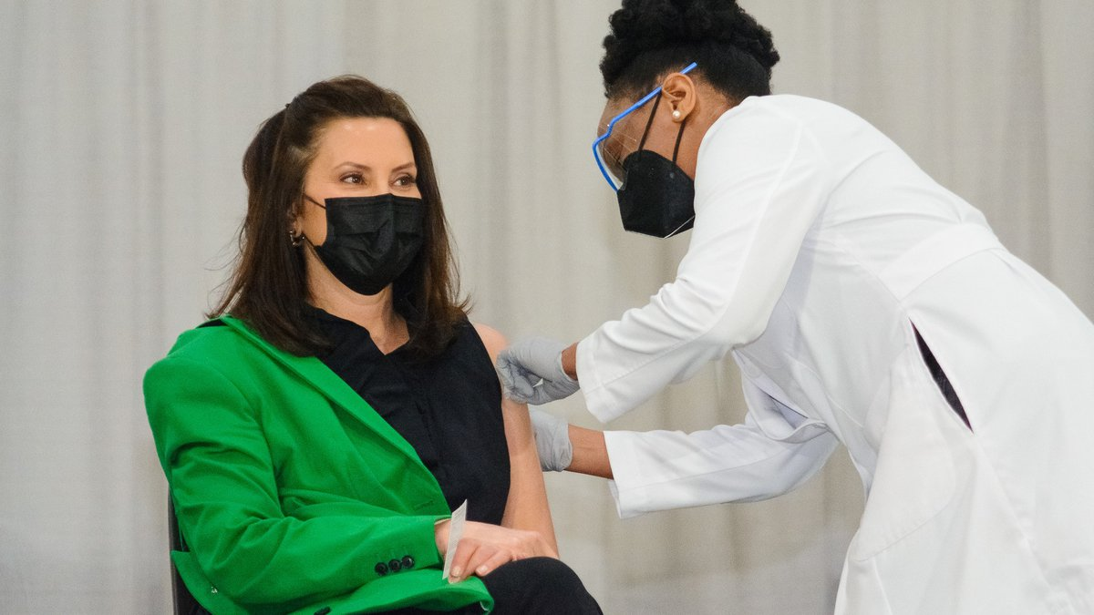 Gov. Gretchen Whitmer received her second dose of the Pfizer COVID-19 vaccine with six...