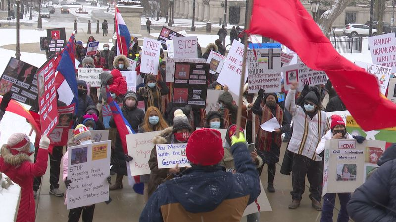 Lansing residents gathered outside the Capitol to show their support for those in Myanmar.