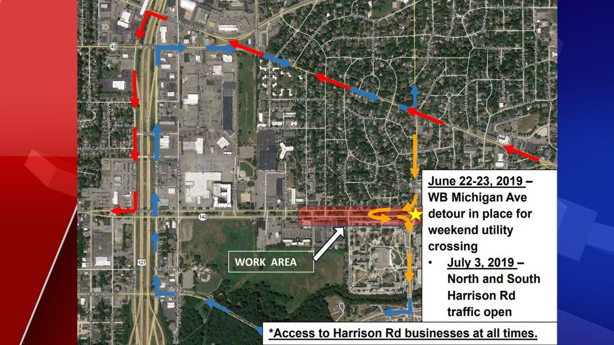 Map shows closure of westbound Michigan Avenue at Harrison Road for Infrastructure Project (Source: WILX)