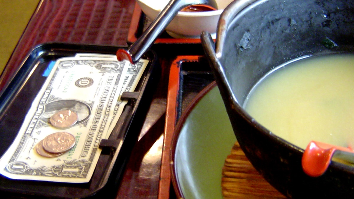 Restaurant table with tip, Photo Date: September 24, 2007