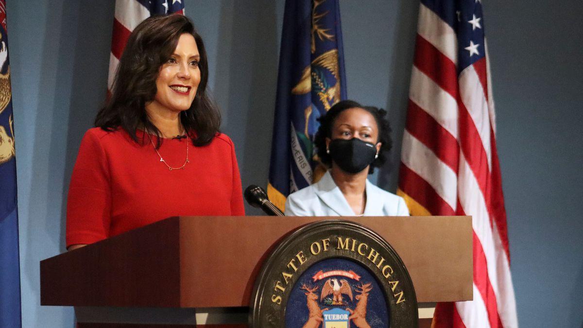 Gov. Gretchen Whitmer, D-Michigan, speaks at a press conference in Lansing, Sept. 16, 2020.