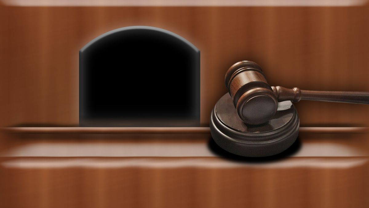 Judge's bench with gavel drawing, on texture, partial graphic