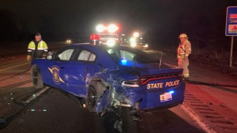 This Michigan State Police patrol car got hit by a Tesla in autopilot mode while a trooper was...