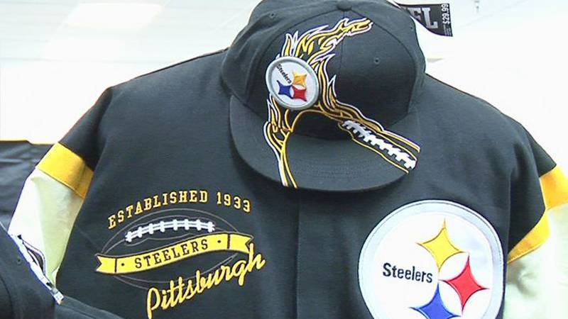 A Pittsburgh Steelers jacket and hat. Available at a store at the Albany Mall.