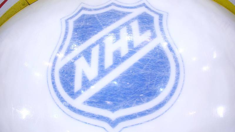 PITTSBURGH - MAY 04: The NHL logo behind the net during the game between the Pittsburgh...