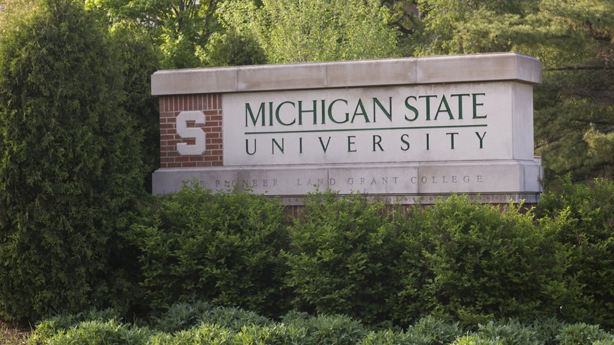 View of the Shaw Lane entrance sign at Michigan State University.
