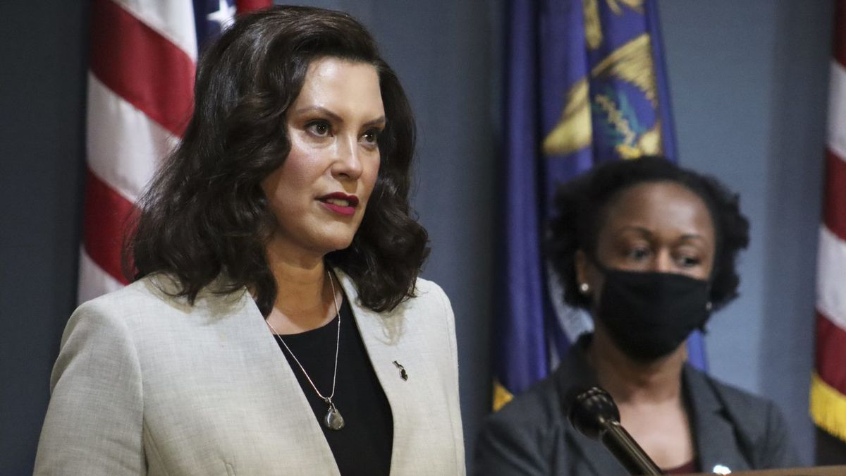 Governor Gretchen Whitmer and MDHHS Dr. Joneigh Khaldun during a morning press conference on June 17, 2020. (Executive Office of the Governor Photo)