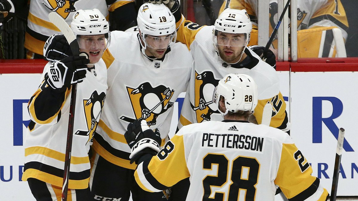 Pittsburgh Penguins defenseman Juuso Riikola (50) celebrates his goal against the Arizona...