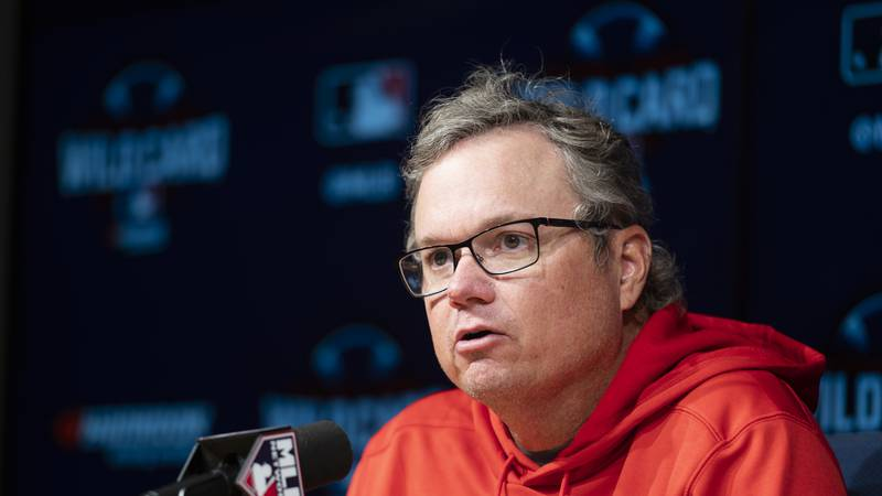 St. Louis Cardinals manager Mike Shildt responds to a question during a baseball news...
