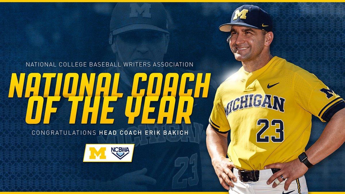 University of Michigan baseball head coach Erik Bakich has been named the National Collegiate...