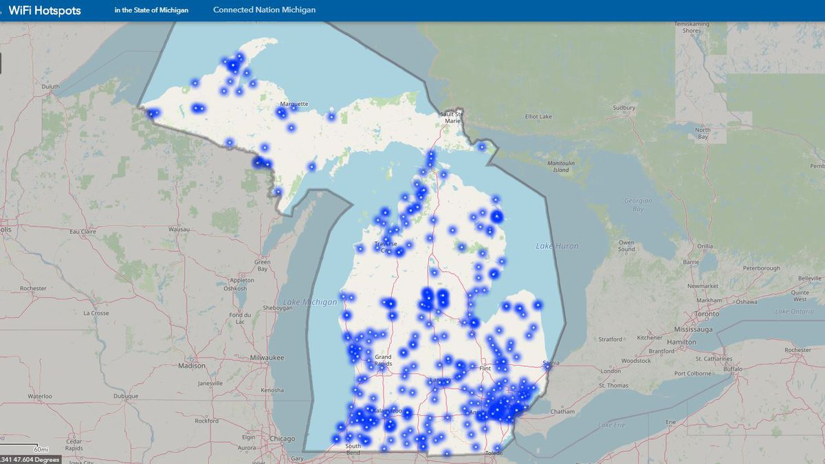 The Michigan Public Service Commission launched a map showing free WiFi hotspots.