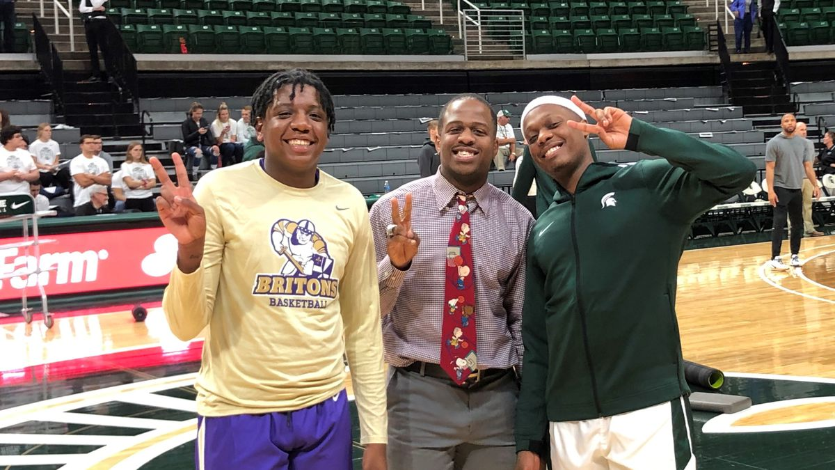 The Winston brothers Cassius, Zachary and Khy pose for a photo before the Michigan State/Albion exhibition game on October, 29th 2019
