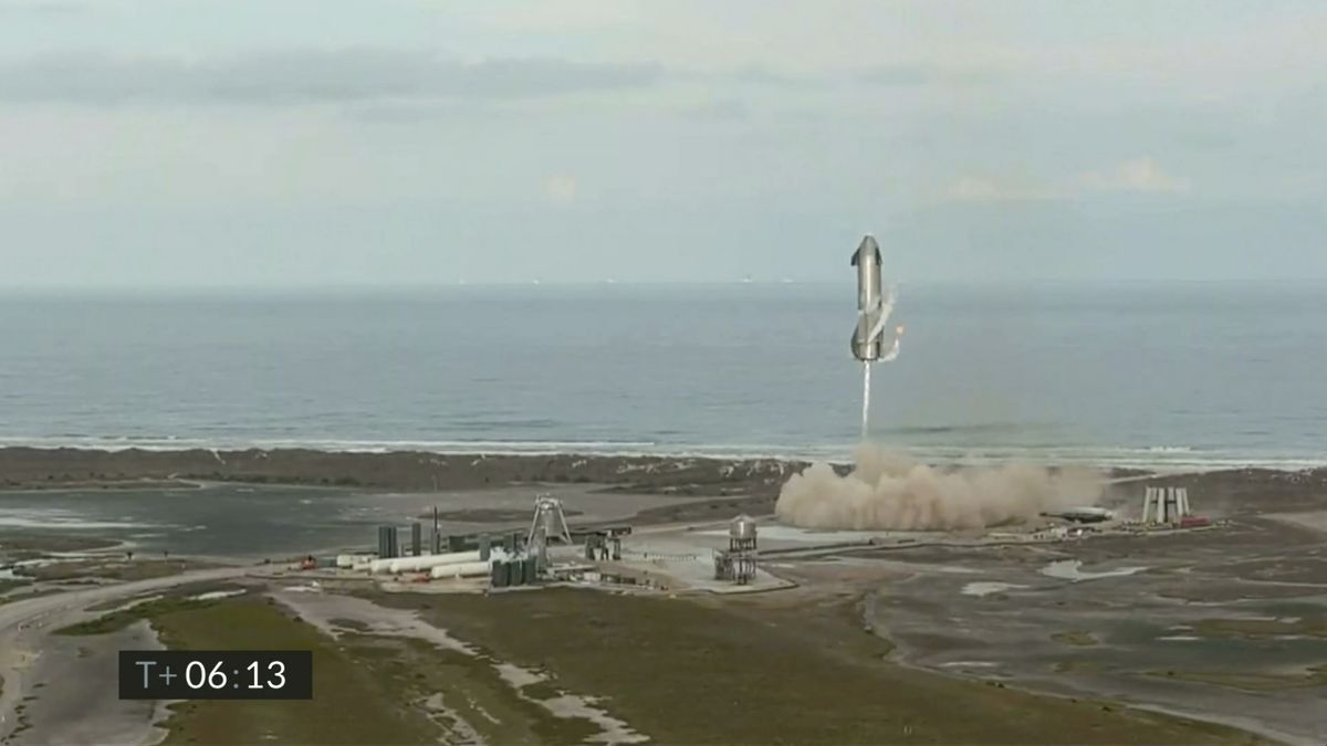 In this image from video made available by SpaceX, one of the company's Starship prototypes...