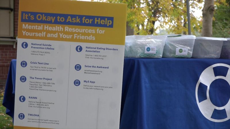 Mental health resources display at Out of the Darkness walk