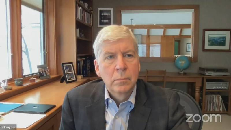 Former governor Rick Snyder appeared via Zoom for a pretrial hearing in Genesee County's 67th...