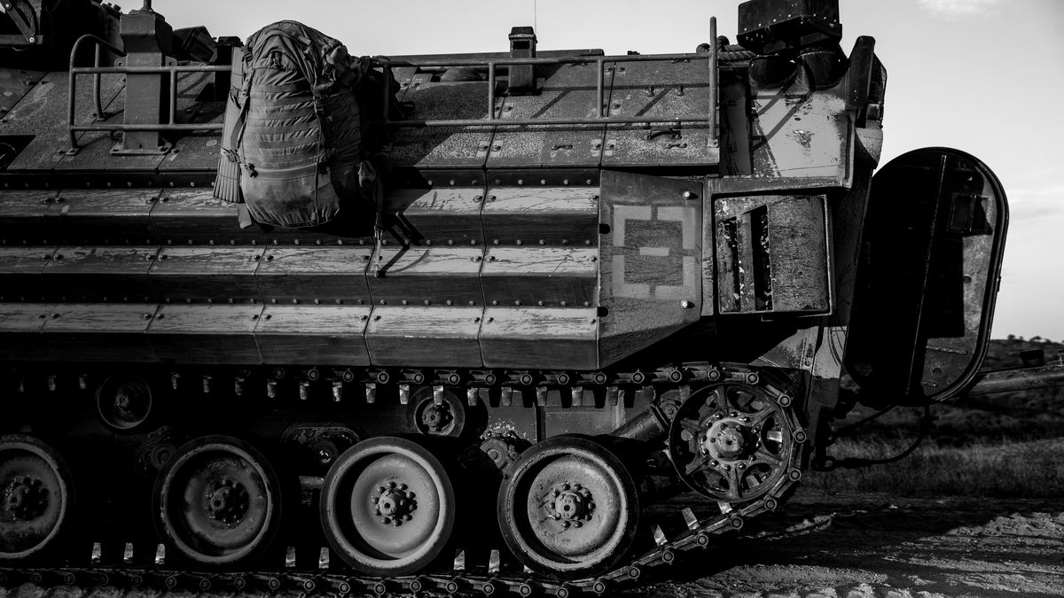 A U.S. Marine Corps AAV-P7/A1 assault amphibious vehicle is shown at Marine Corps Base Camp...