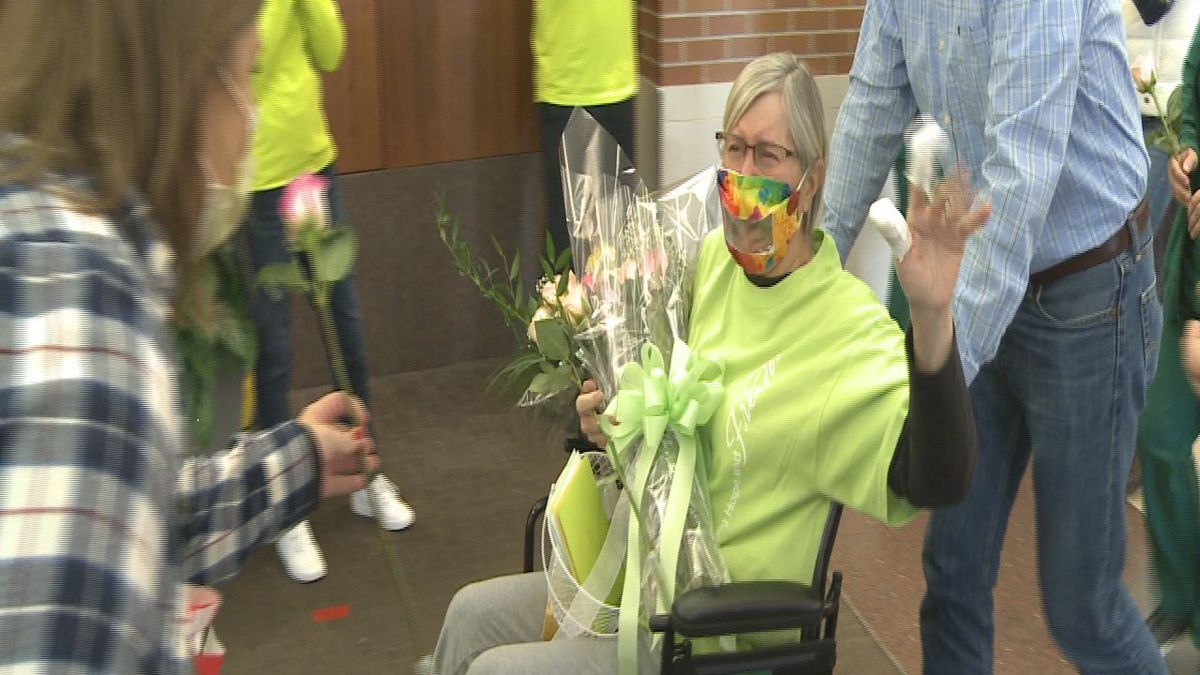 On Friday, May 8, 2020, Sparrow Hospital's first COVID-19 patient left the hospital for good after spending 55 days in recovery. (WILX)