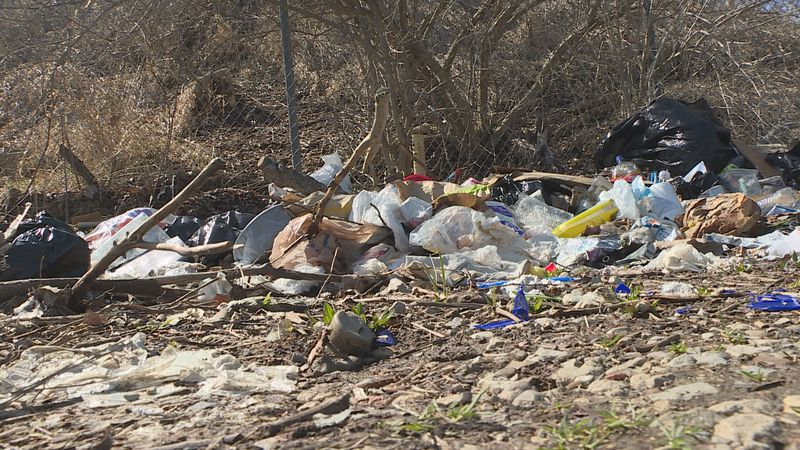 Trash pile in Lansing near Aurelius Bypass