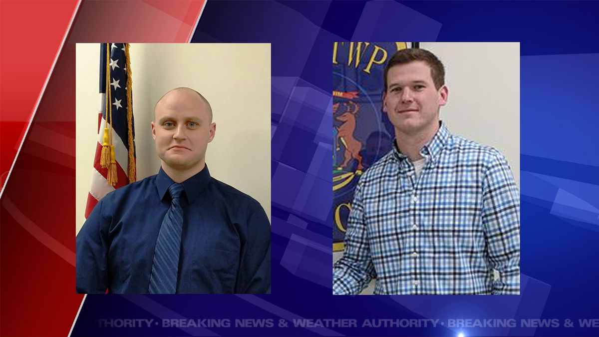 Officer Bryan Miller and Officer Payton Warner were arrested early on October 9 for taking part in a bar fight. (Source WILX)