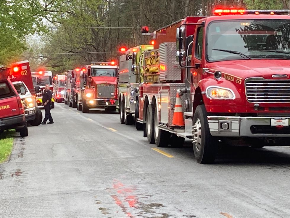 Crews from seven fire departments responded to a barn fire in Williamston Township.