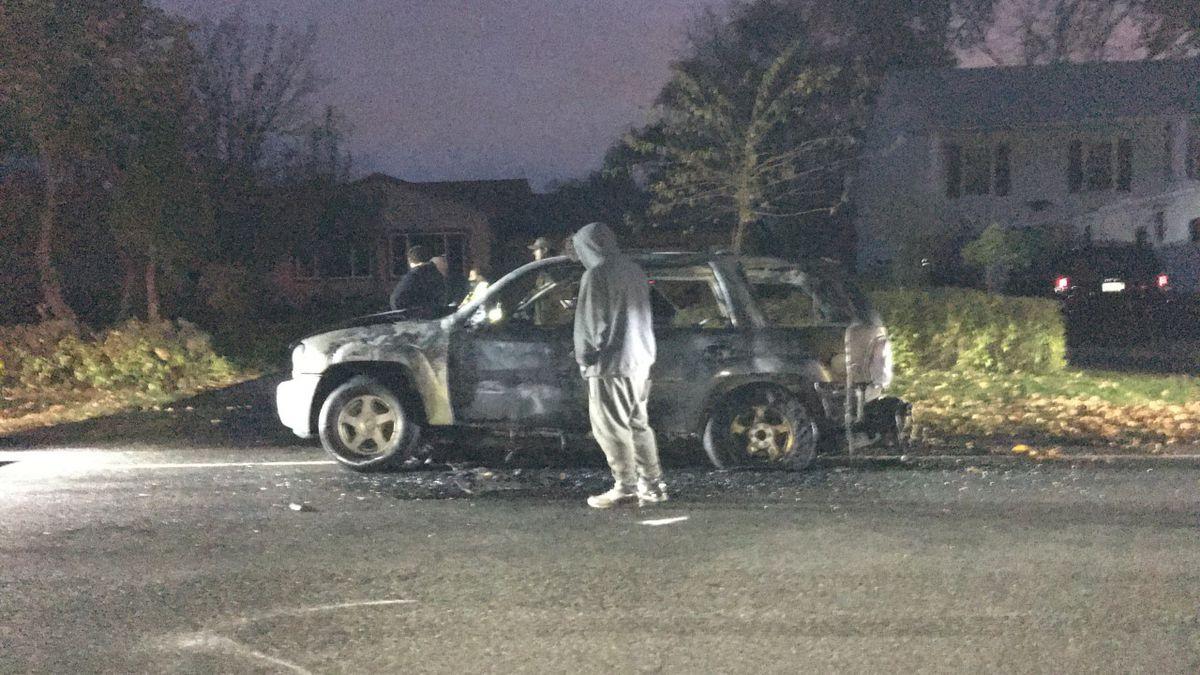 Car catches fire in Delhi Township