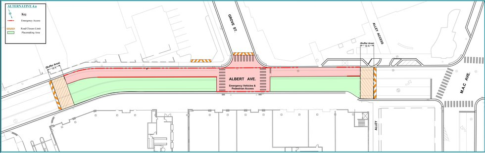 A map of the area of Albert Avenue in East Lansing that will be closed for a pilot...