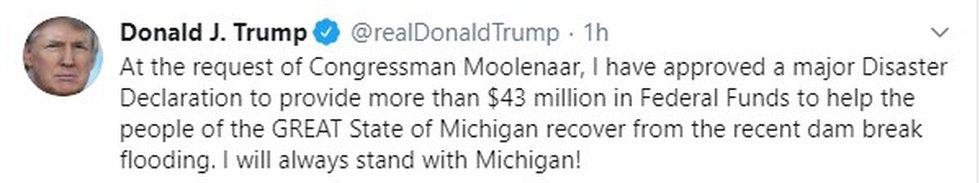 Disaster Approval Trump Tweet