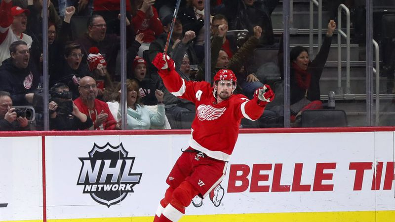 Detroit Red Wings center Dylan Larkin celebrates his goal against the Florida Panthers in the...