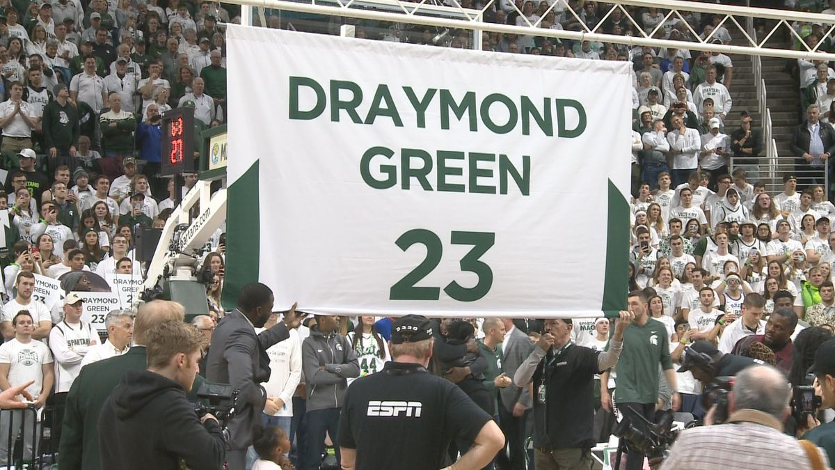 Draymond Green looks on as Michigan State retires his #23 jersey Tuesday, December 4th against Duke.