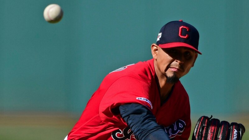 Cleveland Indians starting pitcher Carlos Carrasco delivers in the first inning of a baseball...
