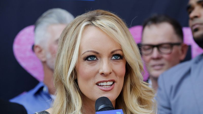 FILE - In this May 23, 2018, file photo, Stormy Daniels speaks during a ceremony for her...