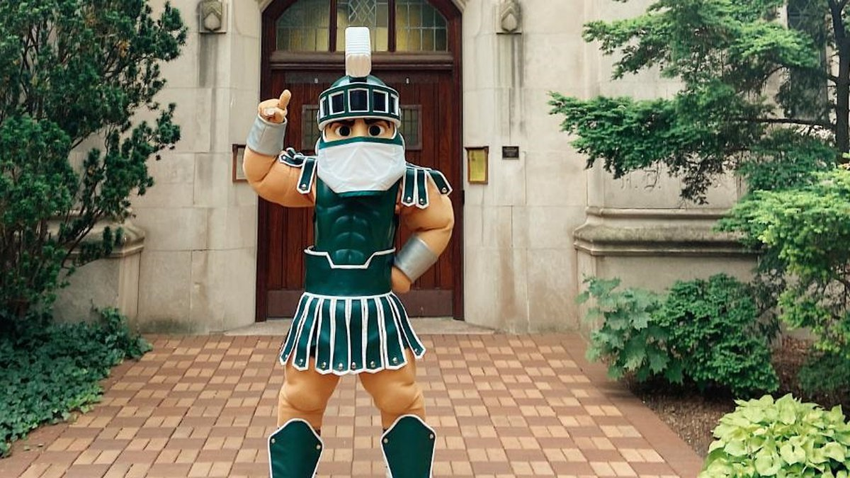 """Sparty says """"Mask Up!"""" as Michigan State University implements mask and vaccine mandates."""