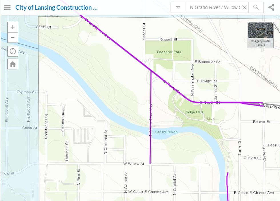 Starting Monday North Grand River Avenue from Willow Street to the North Grand River Avenue...